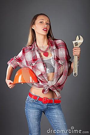 Woman worker studio portait