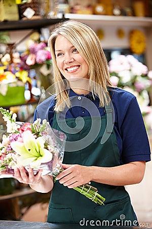 Woman working in florist