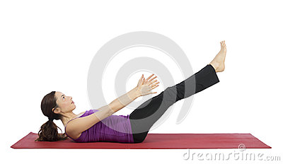 Woman working her abs during fitness Stock Photo