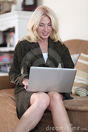 Woman working in her laptop
