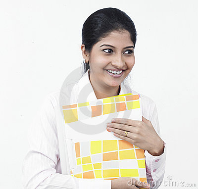 Woman working at her office desk