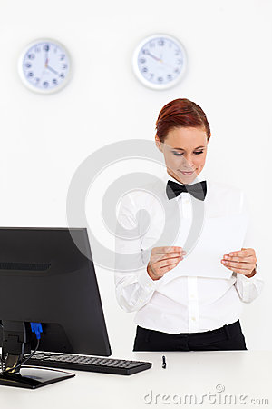 Woman working at hotel