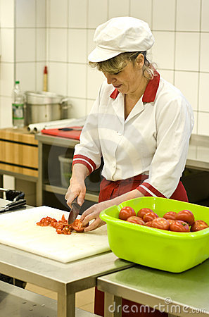 Woman working in kitchen