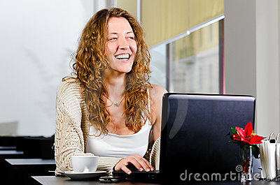 Woman is working on laptop