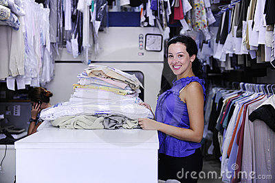 Woman working at a laundry