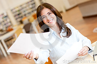 Woman working at the library