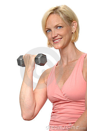 Woman working out with dumbbel