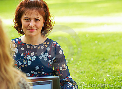Woman working outdoors