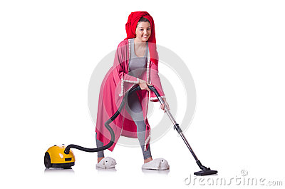 Woman working with vacuum cleaner