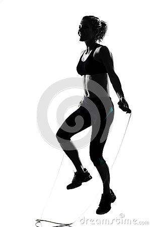 Woman workout fitness posture jumping rope