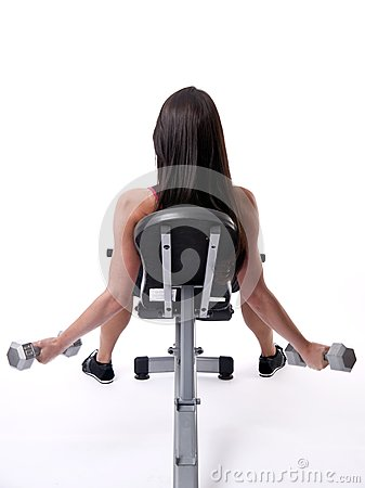 Woman Works Out Liftings Barbells White Background