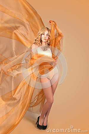 Woman Wrapped In Copper Flowing Fabric Royalty Free Stock