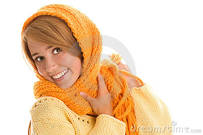 Woman wrapped scarf
