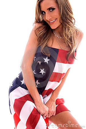 Woman wrapped in USA flag.