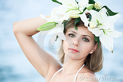 Woman in wreath