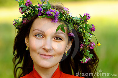 Woman with wreath on head