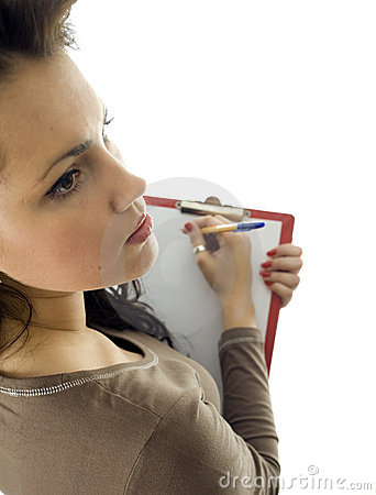 Woman writing on clipboard