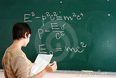 Woman writing formula