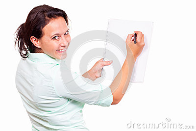 Woman with a writing pad