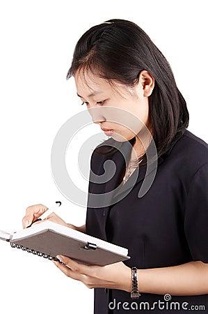 Woman writting