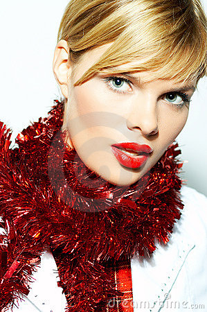 Woman with X-mas tinsel
