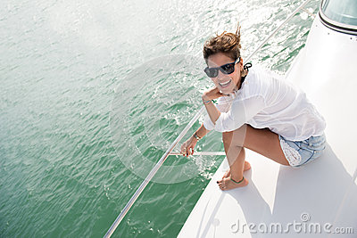 Woman in a yacht