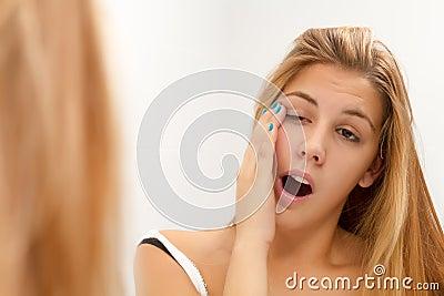 Woman yawing