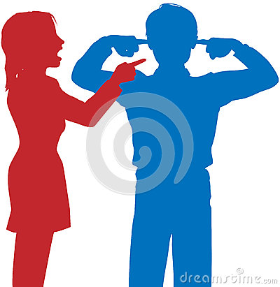 Woman yell man listen fingers ears argue