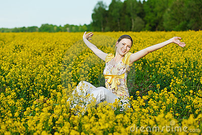 Woman on yellow field