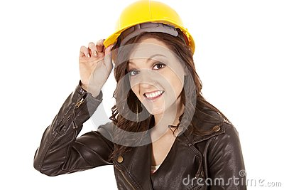 Woman yellow hat hold