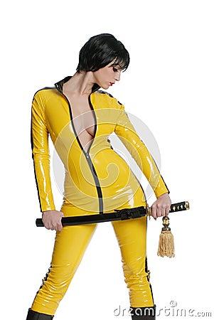 Woman in yellow latex