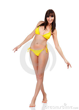Woman in yellow swimsuit