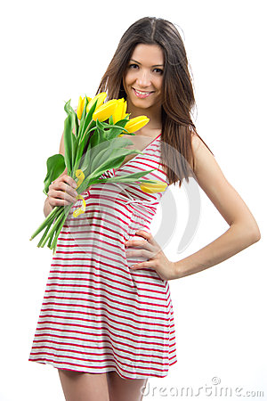 Woman with yellow tulips bouquet