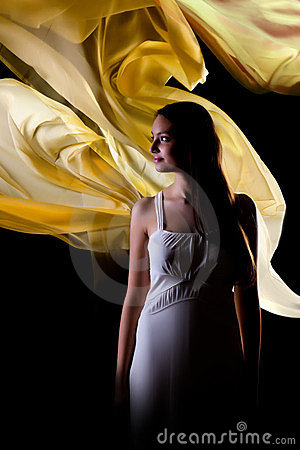 Woman with yellow waves