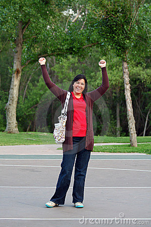 Woman yells Hooray!