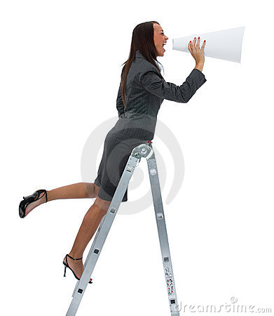 woman yells in megaphone