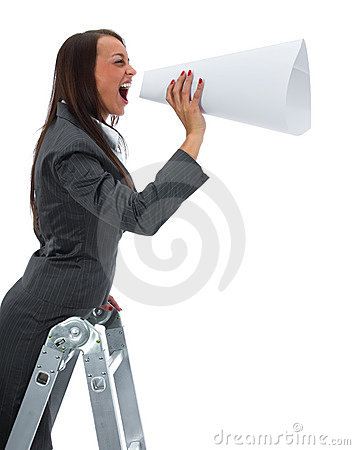 woman yells in megaphone