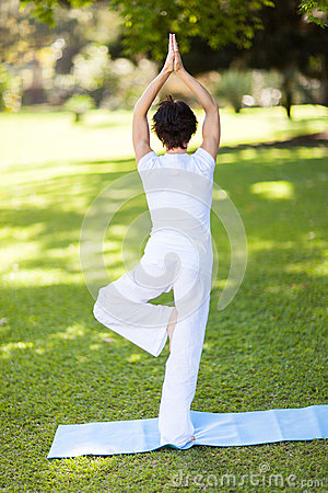 Woman yoga outdoors