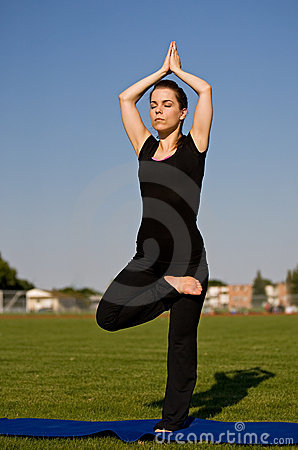 Woman in yoga pose