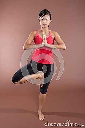 Woman in yoga  pose.