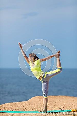 Free Woman Yoga. Series. Outdoor. On The Seashore Stock Image - 37486271
