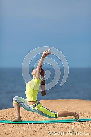Free Woman Yoga. Series. Outdoor. On The Seashore Royalty Free Stock Photo - 37486455