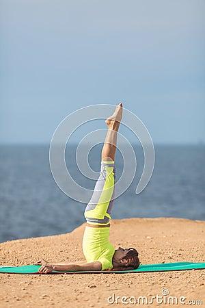 Free Woman Yoga. Series. Outdoor. On The Seashore Royalty Free Stock Image - 37486716