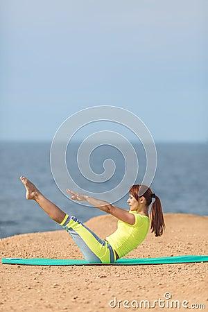 Free Woman Yoga. Series. Outdoor. On The Seashore Royalty Free Stock Photo - 37486725