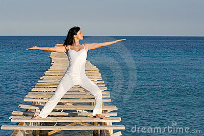 Woman , yoga or tai chi