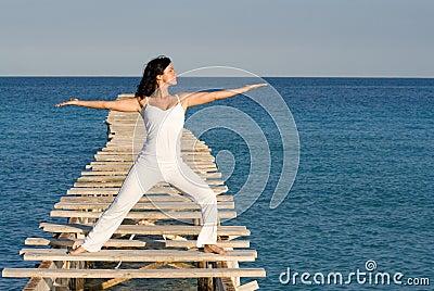 Woman , yoga or tai chi