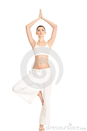 Woman in yoga tree-pose