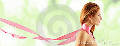 Woman young beautiful with pink ribbon