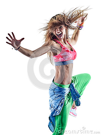 Free Woman Zumba Dancers Dancing Fitness Exercising Excercises Isolat Stock Image - 89203861
