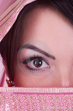 Womanish eye in pink yashmak